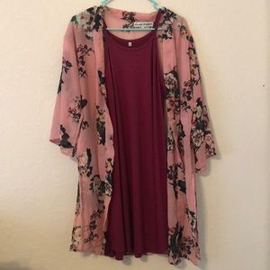 Maroon dress with flowery cover